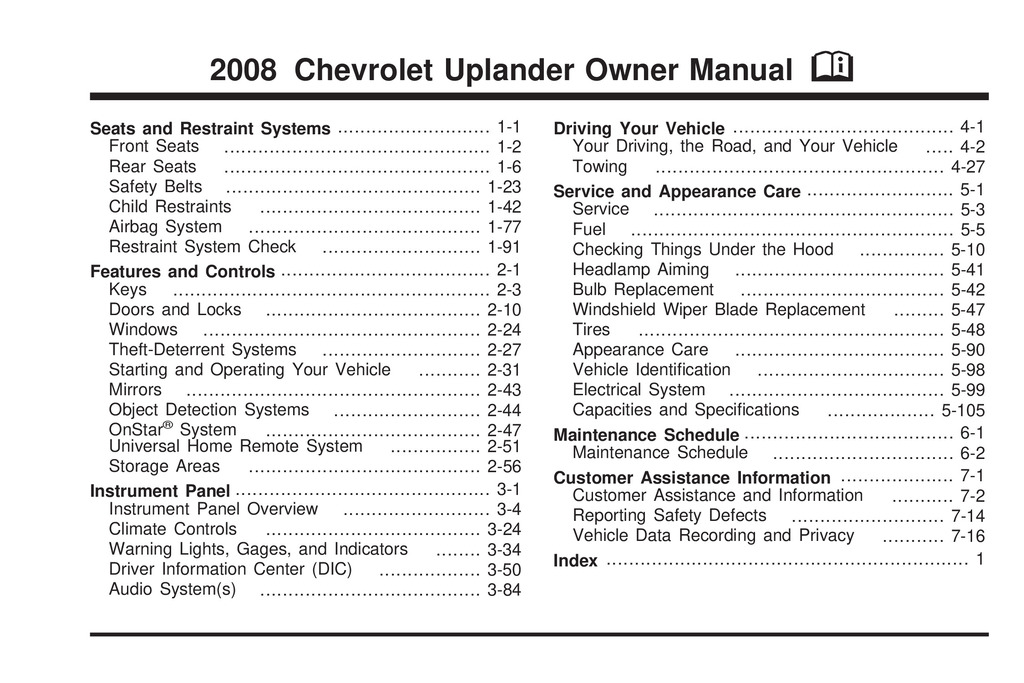 2009 Chevrolet Uplander owners manual
