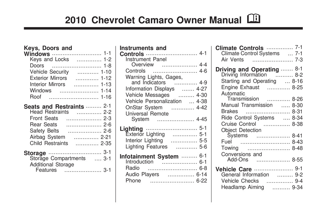 2010 Chevrolet Camaro owners manual