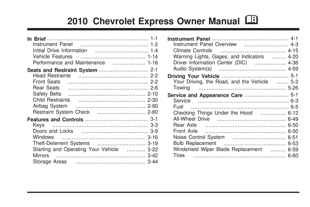 2010 Chevrolet Express owners manual