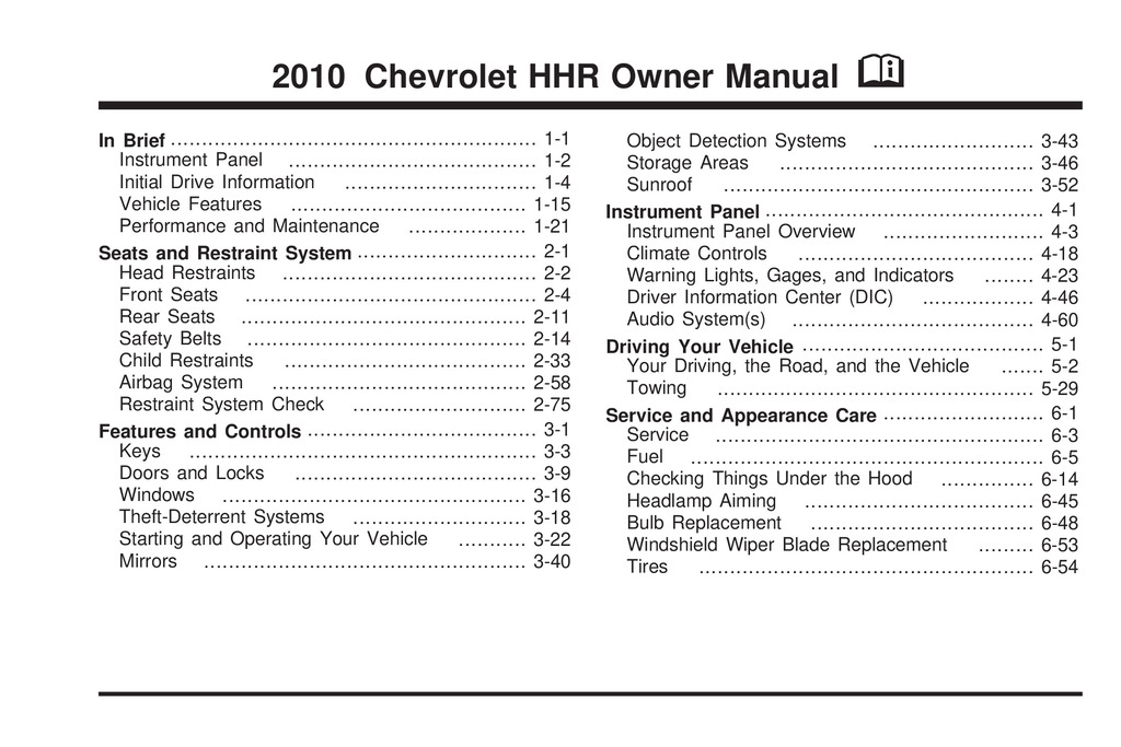 2010 Chevrolet Hhr owners manual