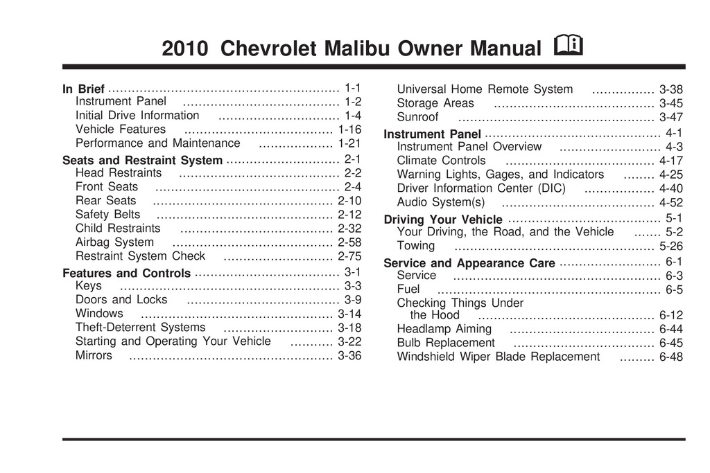 2010 Chevrolet Malibu owners manual