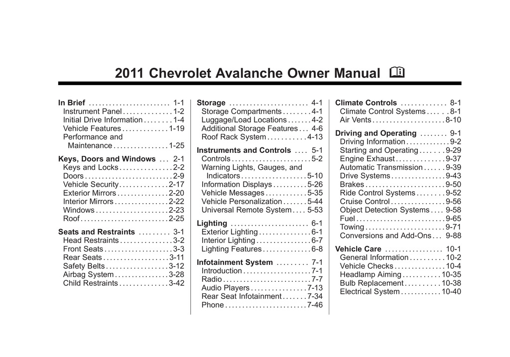 2011 Chevrolet Avalanche owners manual