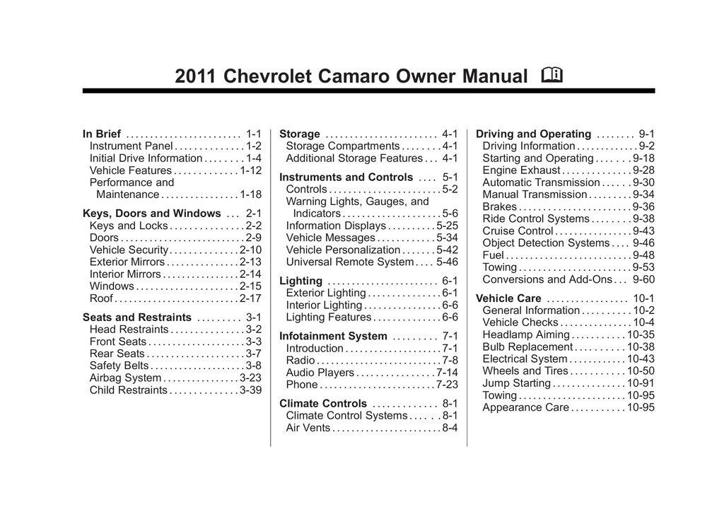 2011 Chevrolet Camaro owners manual