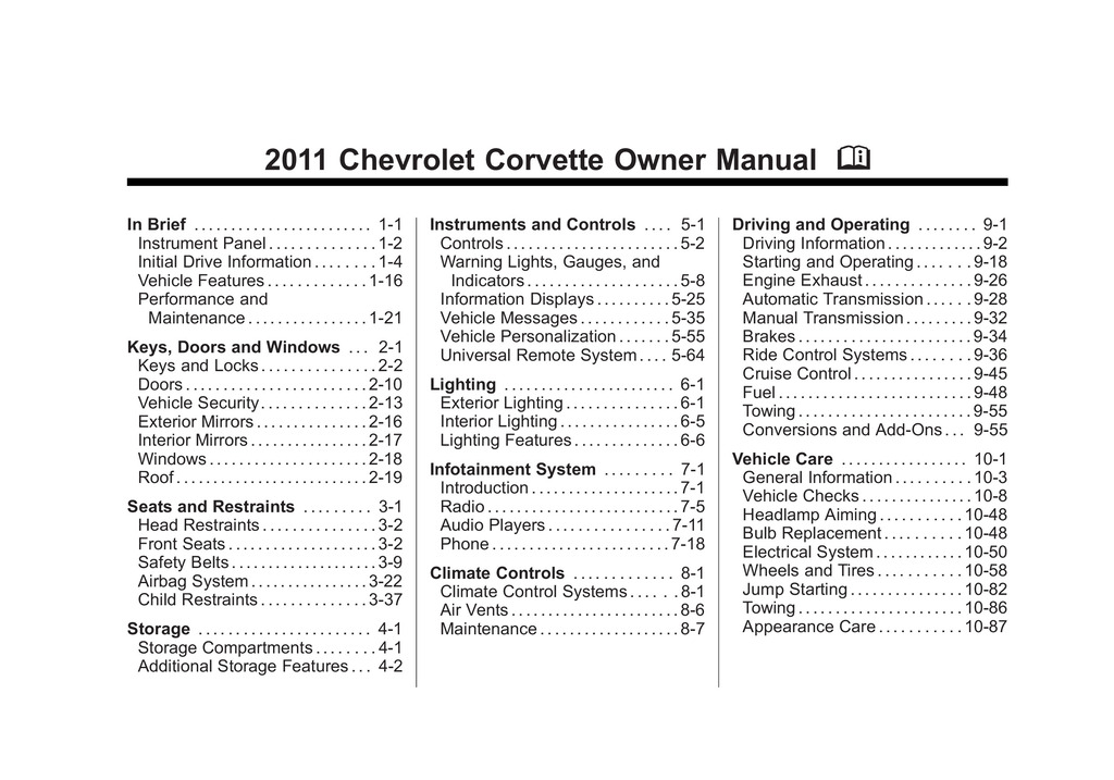 2011 Chevrolet Corvette owners manual