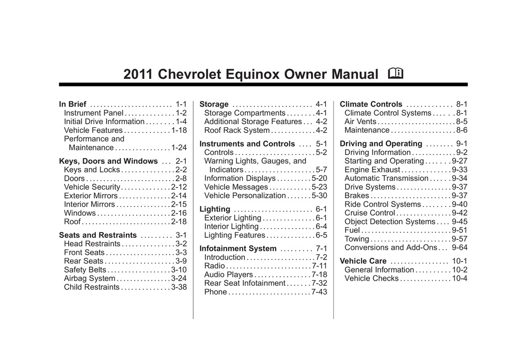 2011 Chevrolet Equinox owners manual