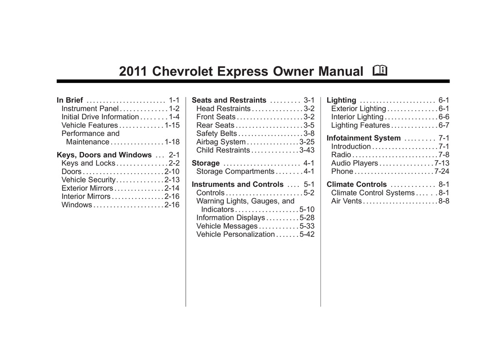 2011 Chevrolet Express owners manual