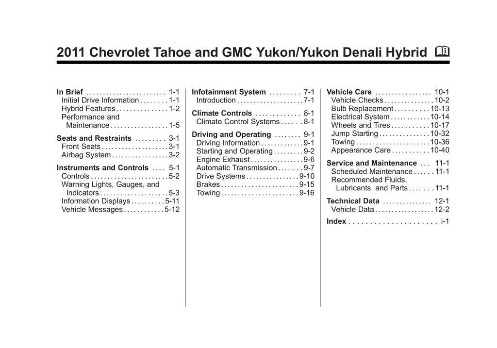 2011 Chevrolet Tahoe owners manual