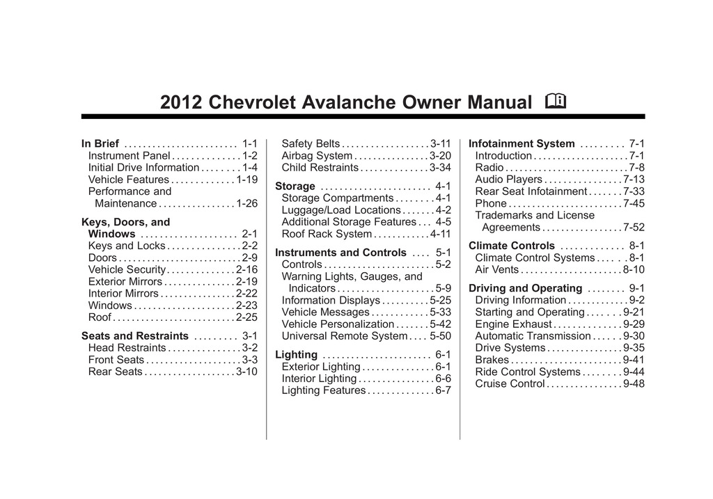 2012 Chevrolet Avalanche owners manual