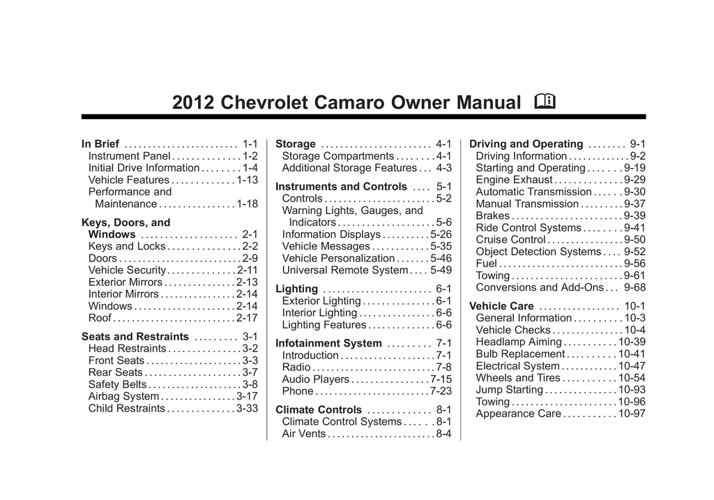 2012 Chevrolet Camaro owners manual