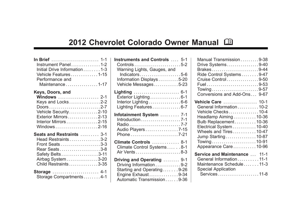2012 Chevrolet Colorado owners manual