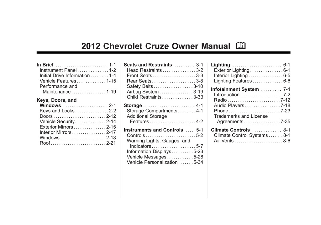 2012 Chevrolet Cruze owners manual
