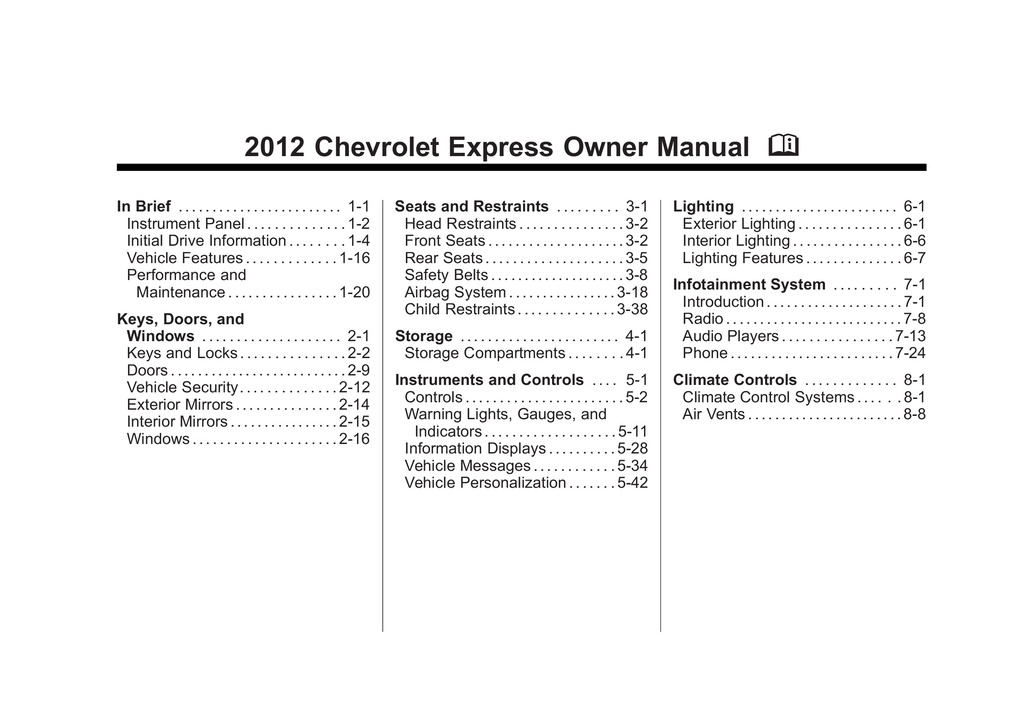 2012 Chevrolet Express owners manual