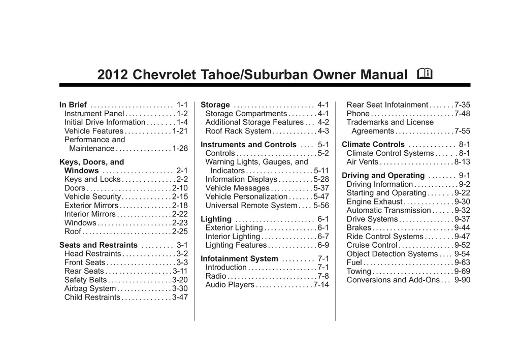 2012 Chevrolet Tahoe owners manual