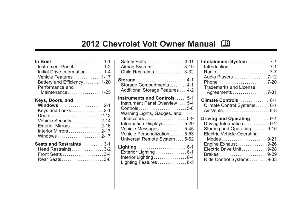 2012 Chevrolet Volt owners manual