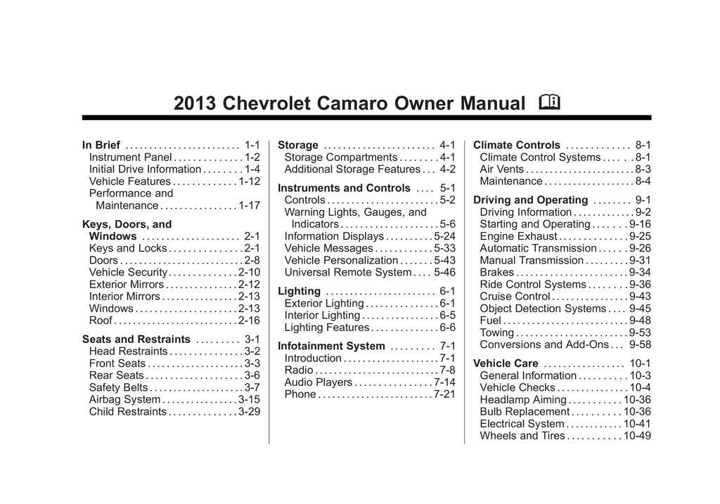 2013 Chevrolet Camaro owners manual