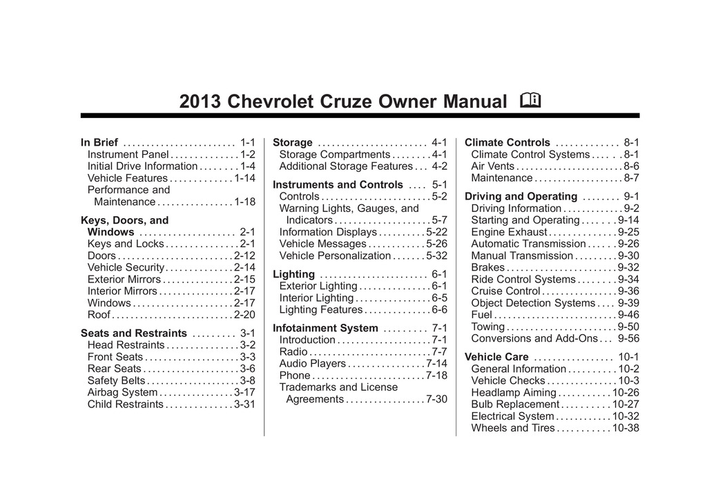 2013 Chevrolet Cruze owners manual