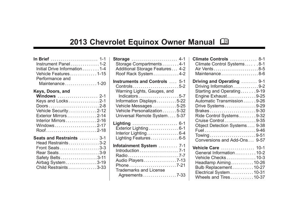 2013 Chevrolet Equinox owners manual