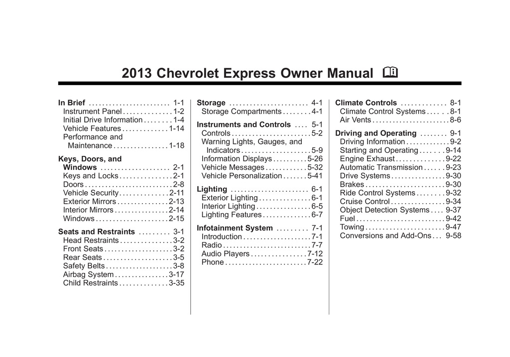 2013 Chevrolet Express owners manual