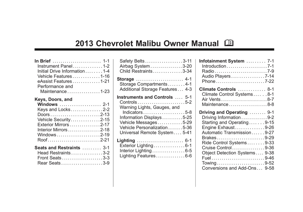2013 Chevrolet Malibu owners manual