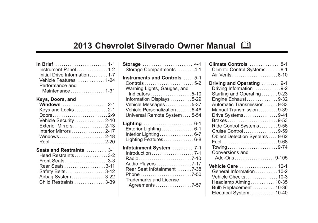 2013 Chevrolet Silverado owners manual