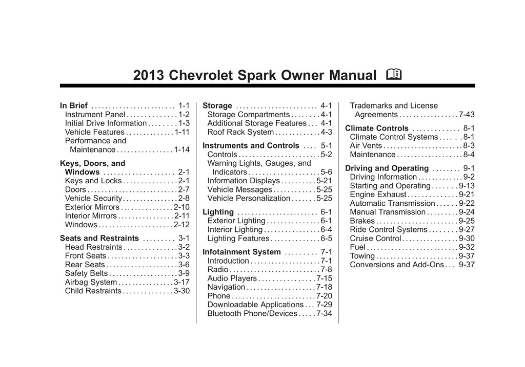 2013 Chevrolet Spark owners manual