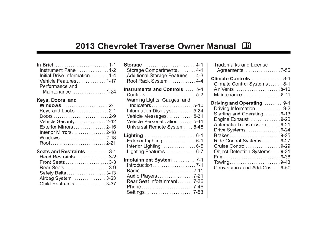 2013 Chevrolet Traverse owners manual