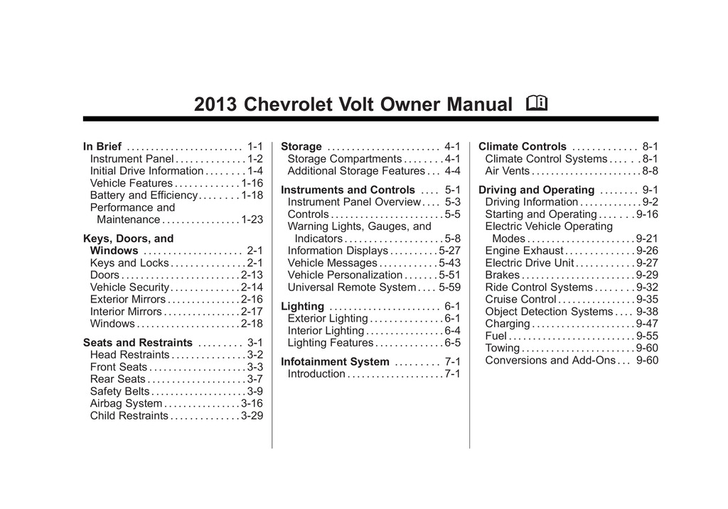 2013 Chevrolet Volt owners manual
