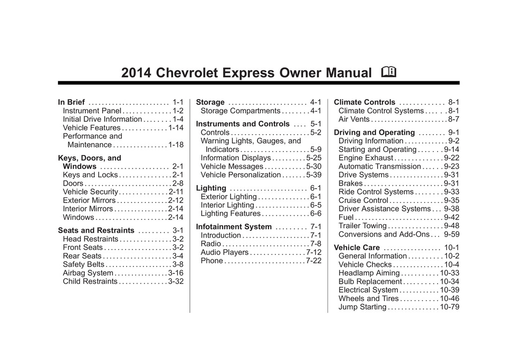 2014 Chevrolet Express owners manual