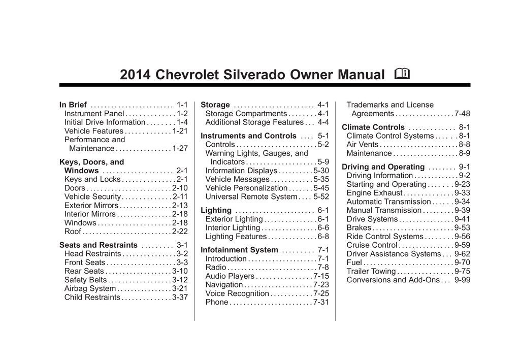 2014 Chevrolet Silverado owners manual