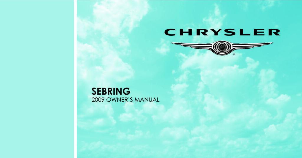 2009 Chrysler Sebring owners manual