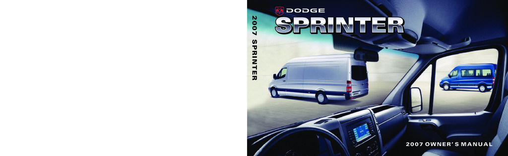 2007 Dodge Sprinter owners manual