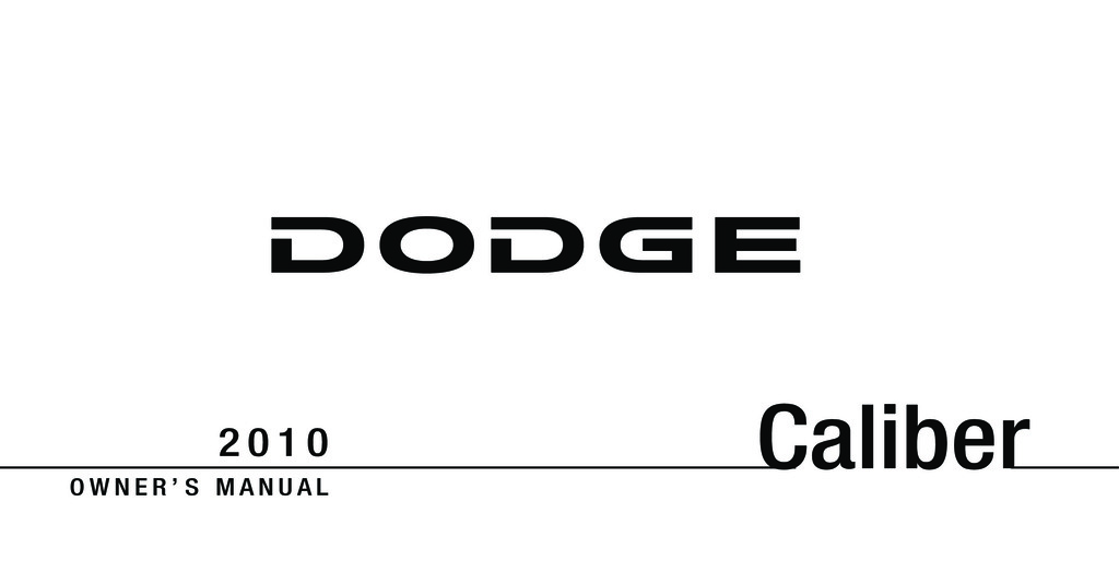 2010 Dodge Caliber owners manual