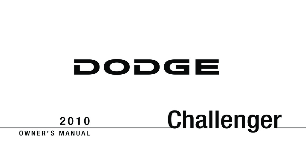 2010 Dodge Challenger owners manual