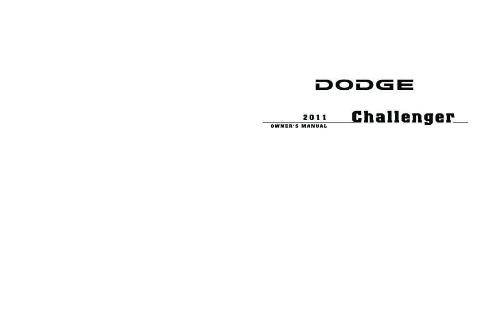 2011 Dodge Challenger owners manual