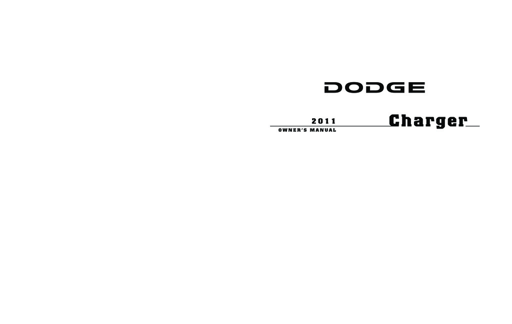 2011 Dodge Charger owners manual