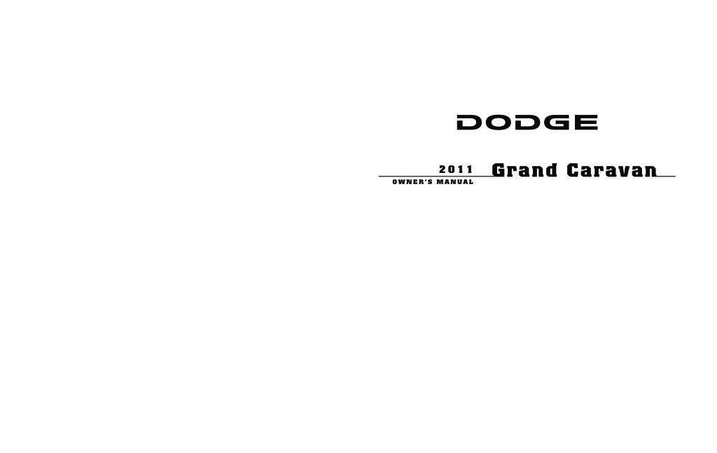 2011 Dodge Grand Caravan owners manual