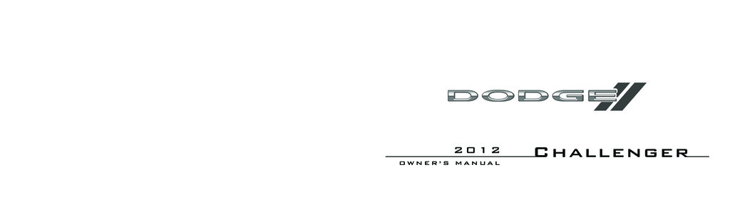 2012 Dodge Challenger owners manual