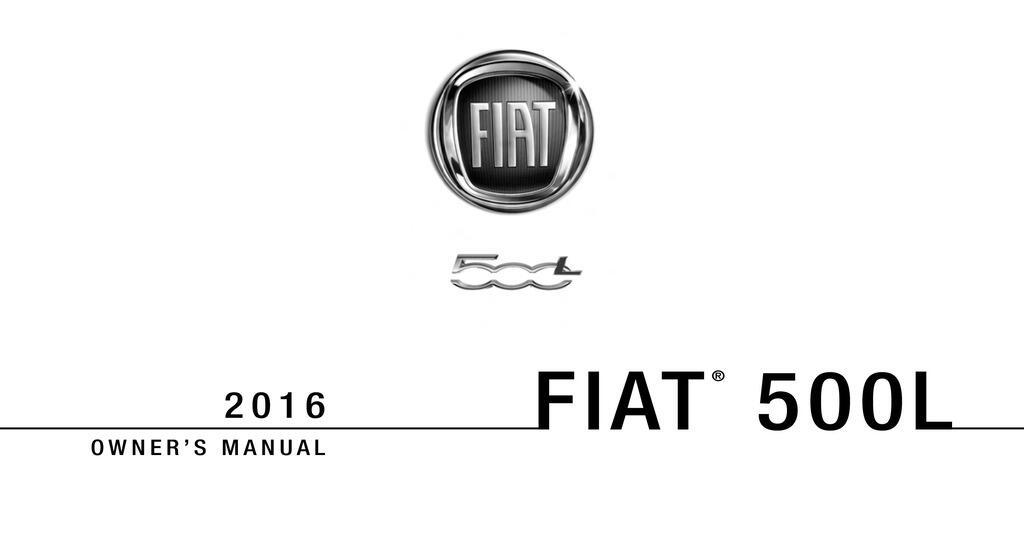 2016 Fiat 500l owners manual