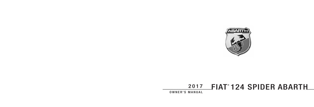 2017 Fiat Spider Abarth owners manual