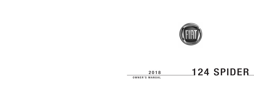 2018 Fiat 124 Spider owners manual