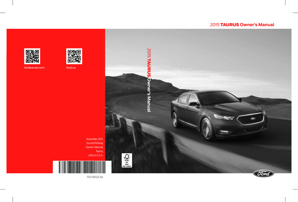 2015 Ford Taurus owners manual