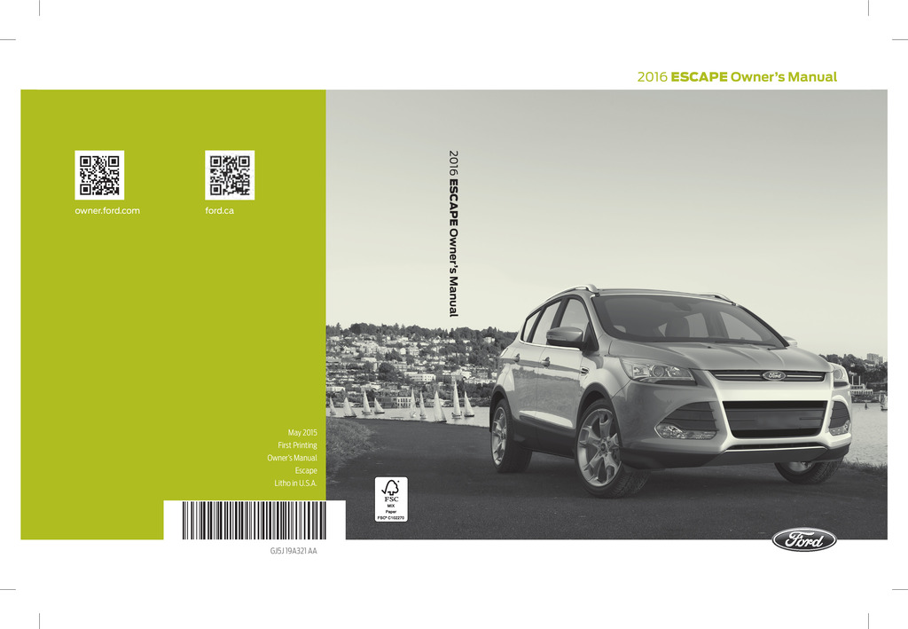 2016 Ford Escape owners manual