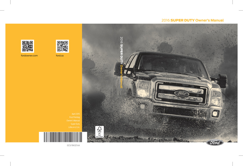 2016 Ford F250 owners manual
