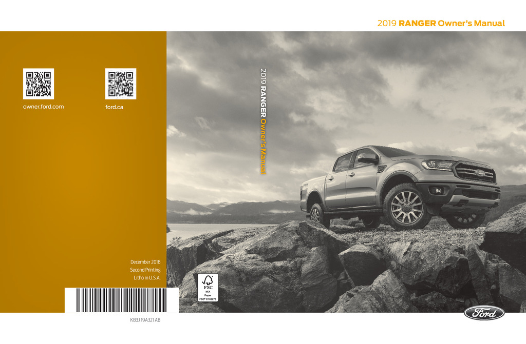 2019 Ford Ranger owners manual