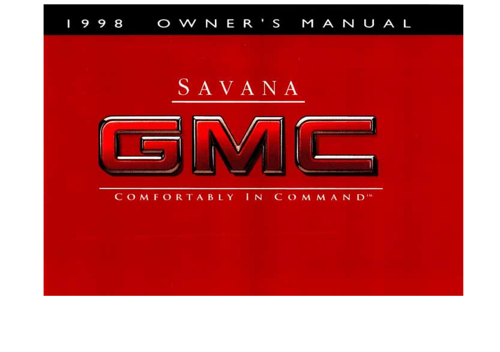 1998 GMC Savana owners manual