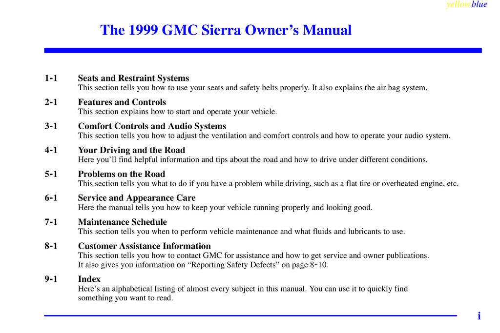 1999 GMC Sierra owners manual