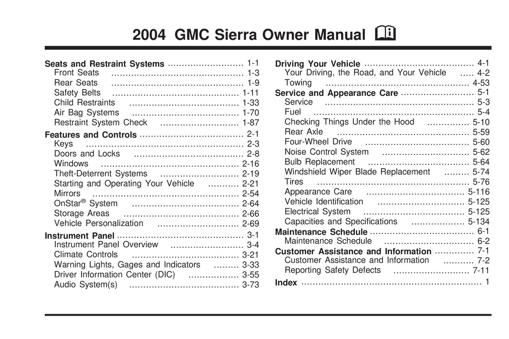 2004 GMC Sierra owners manual