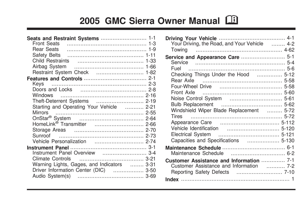2005 GMC Sierra owners manual