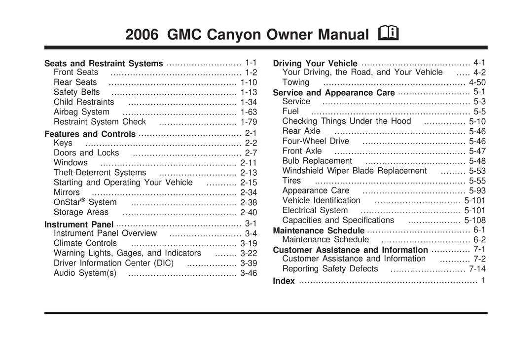 2006 GMC Canyon owners manual