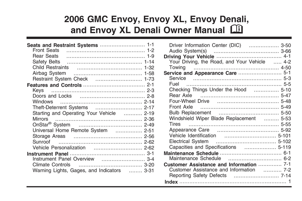2006 GMC Envoy owners manual